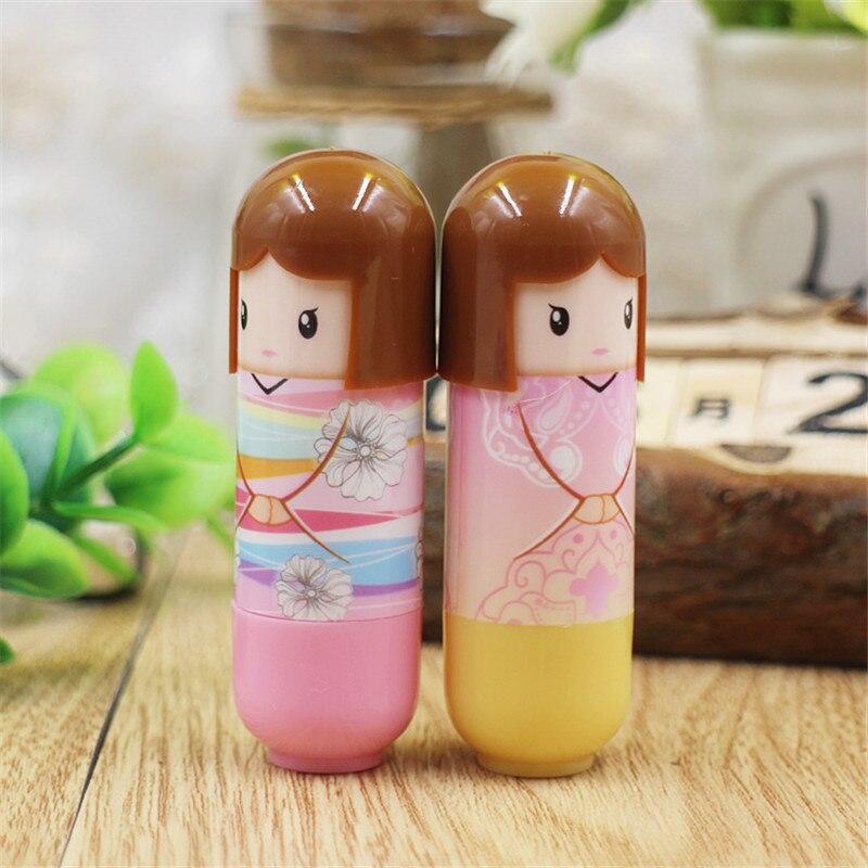 6pcs/lot Fashion cute Waterproof Cartoon Kimono Doll Lip Balm Long Lasting Moisturizing Lipstick smackers Women Lips Makeup 4