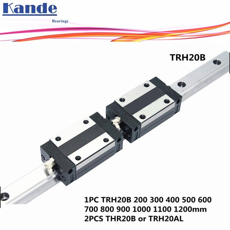 цена на Precision rail 1PC TRH20 Linear guide + 2PCS TRH20B Block or TRH20A Flange Block L 300 400 500 600 700 800 900 1000 mm for CNC