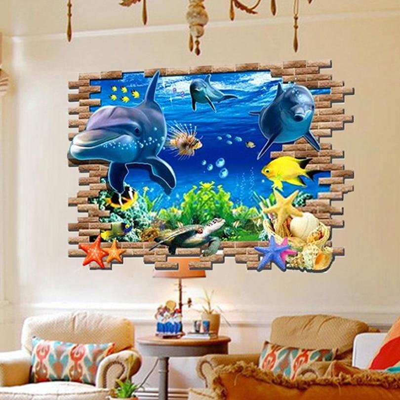 NEW Creative wall sticker 3D three-dimensional wall stickers The dolphins Wall Sticker Interesting wall stickers 9168022