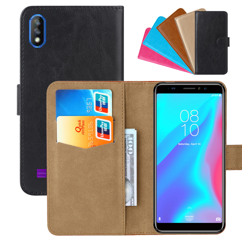 Luxury Wallet Case For <font><b>HomTom</b></font> <font><b>C8</b></font> PU Leather Retro Flip Cover Magnetic Fashion Cases Strap image