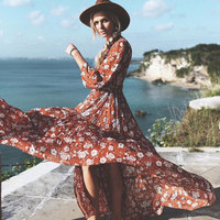 BOHO PEOPLE 2017 Summer New Beach Holiday Ethnic Maxi Dress Retro V Neck Long Sleeve Flowing