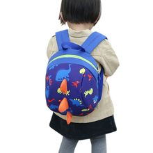 2018 Baby Toy School Bag Cartoon Dinosaur Print Mini Plush Backpack Kids Outdoor Travel Pack Bag Student Kindergarten Bagshot(China)