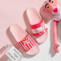Тапочки с рисунком; розовые Пантеры; летние шлепанцы; женская обувь; пляжные Мягкие Шлепанцы; chanclas mujer pantuflas Pantofle domowe slider; женская обувь