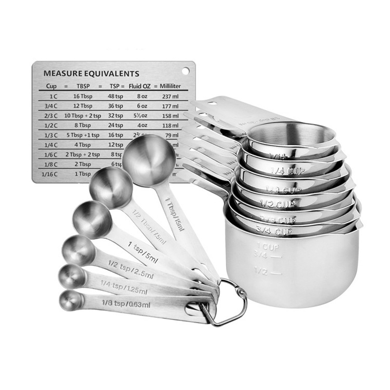 Stainless Steel Measuring Cups And Spoons Set Of 14, Stackable Set With Spout, Measurement Conversion Chart, Kichen Accessories