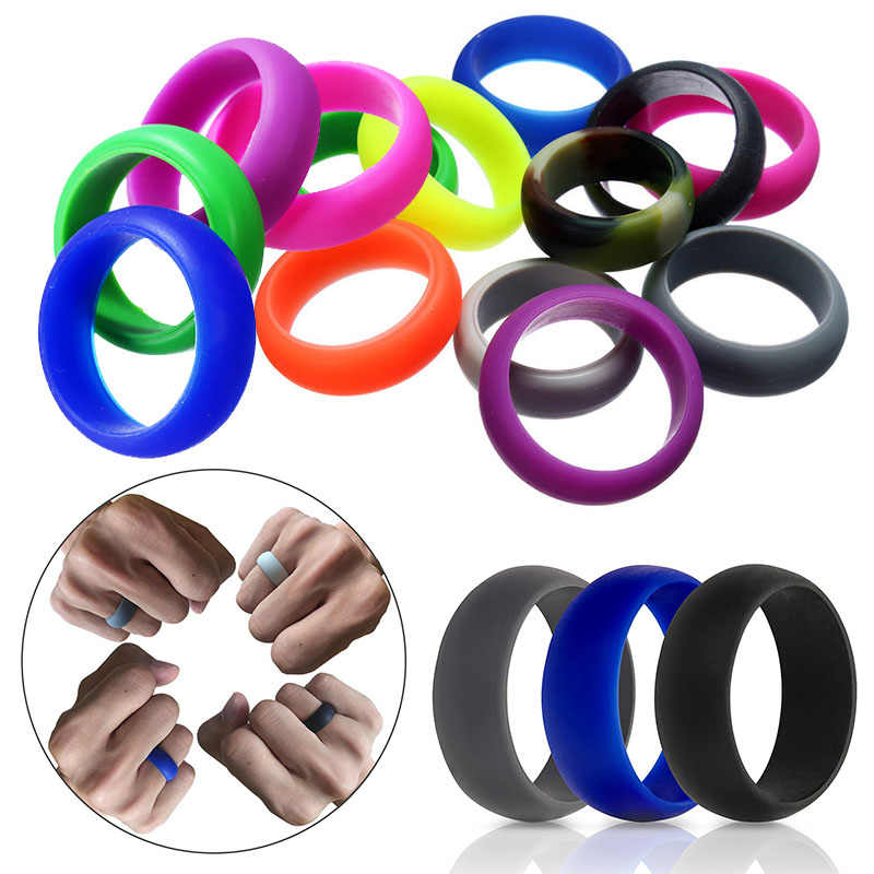LNRRABC New 1Pc Environmental Sport Movement Solid Unisex Silicone Women Men Cool Rings Couple's Round Hot Sale Popular Gift