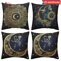 Cushion Cover Set 4pcs Black and Gold Decorative Mandala Pillowcases Reversible Pillow Cover for Cafe and Living Room