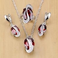 Mystic Oval Rojo Circón Cristal Blanco 925 Plata de La Joyería Para Las Mujeres Accesorios de La Boda Pendientes/Colgante/Collar/anillos T078