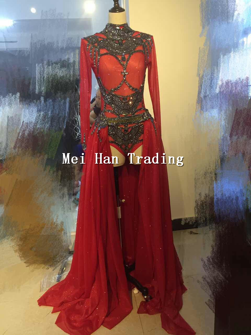 Red Halloween Outfit <font><b>Bodysuit</b></font> Long <font><b>Skirt</b></font> Clothing Set Female Singer Party Show Shining Wear Stage Rhinestone Costume image