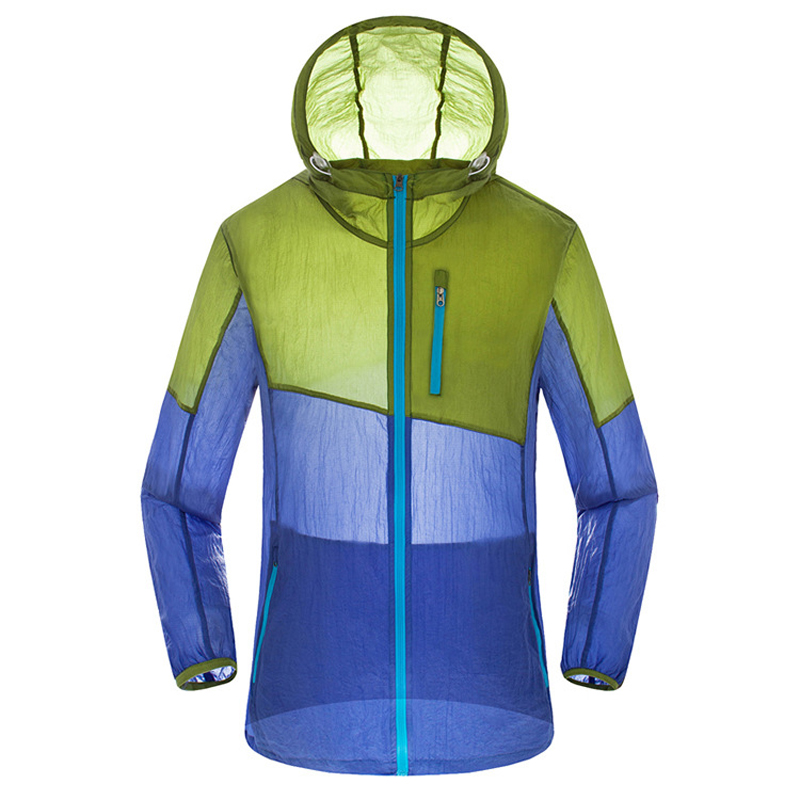 Male Female Outdoor Sport Quick Dry Patchwork Skin Clothes Sunscreen Waterproof Hoodies Thin Soft Hiking Travel Lovers Jackets