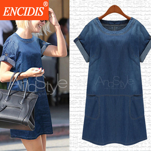 European 5xl Plus Size Short Sleeve Denim Dress Women Fashion