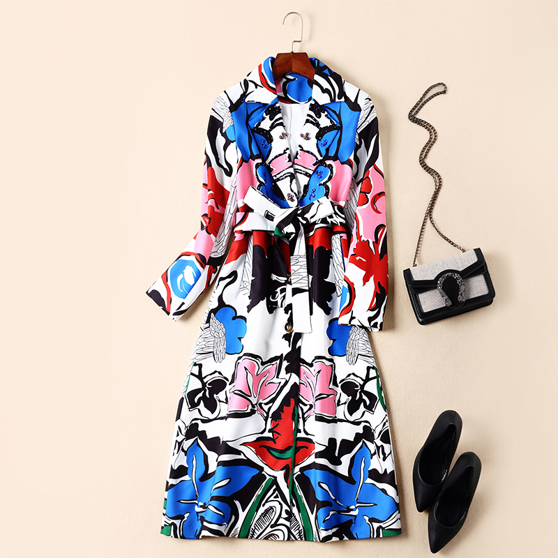 Autumn   Trench   Coat Women Top Quality Runway Designers Full Sleeved Lace Up Beading Graffiti Print Long Overcoat Winter Outerwear