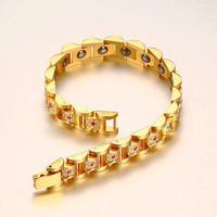 Fashion Top Quality Men Bangle Bracelet Stainless Steel Health Cubic Zircon Hematite Jewelry Bracelets For Women Couple Bracelet
