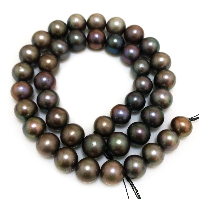 16 inches 10-11mm AA+ High Luster Dark Gray Natural Real Round Pearl Loose Strand 16 inches aa 10 11mm natural white round freshwater pearl loos strand