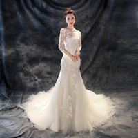 Princess Lace Mermaid Wedding Dress Long Train Elegant Bride Gowns Robe De Marriage Appliques Vestidos Noiva Sereia Customized