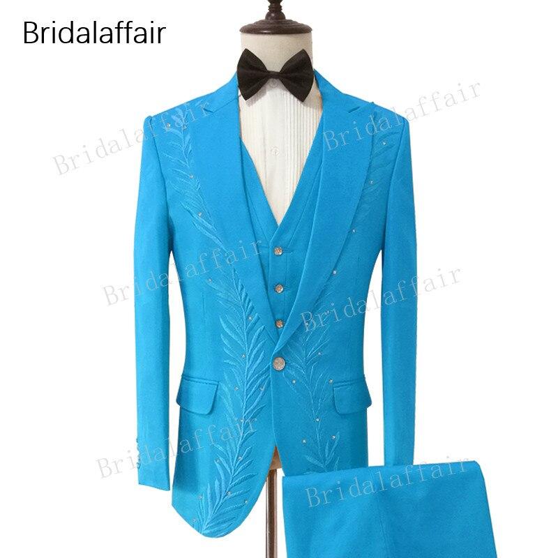 ef0e058d2b Vestito Smoking Meraviglioso Il verde Set Sposa Da blu Cielo Blu ...