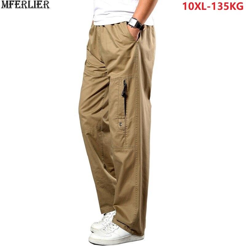 Pantalones cargo para hombre Pantalones rectos elásticos otoño militar safari casual pantalones caqui talla grande 5XL 7XL 8XL 9XL 10XL bolsillo