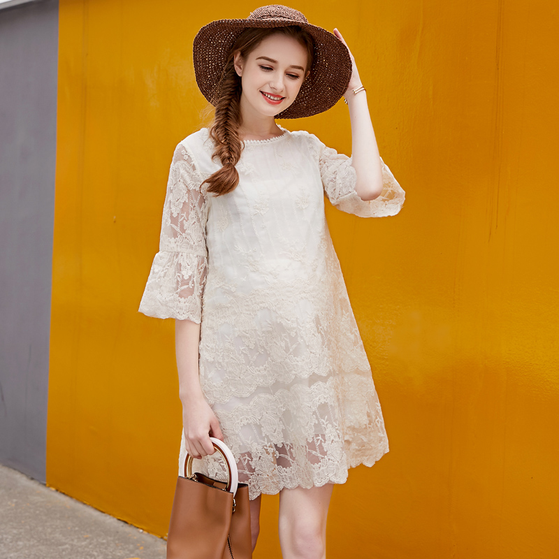 все цены на Europe New 2018 Summer Pregnant Women Fashion Loose Half Flare Sleeve Organza Lace Patchwork Dress Maternity Cute Hot Dresses