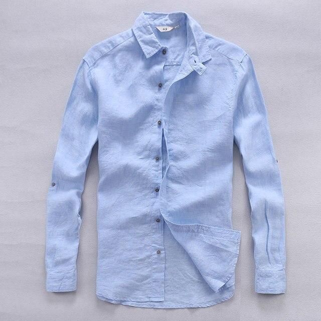 4ef6d108d74 Итальянская дизайнерская чисто мужские льняные рубашки летние длинные  рукава Мужская рубашка повседневные однотонные рубашки Человек классические