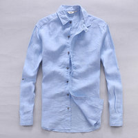 Italy Designer Pure Linen Shirts Men Summer Long Sleeve Men Shirt Solid Casual Shirts Man Classic