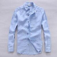 Italy designer pure linen shirts men summer long sleeve men shirt solid casual shirts man classic brand shirt mens flax chemise