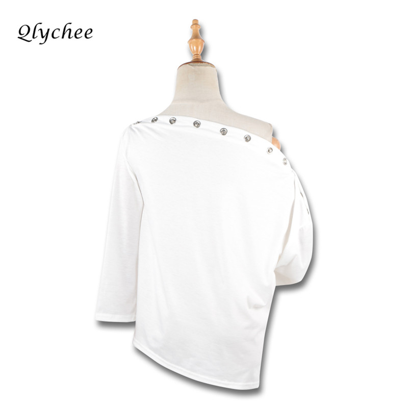 Qlychee Sexy Elegant Off Shoulder TShirt Women Tops Solid White Hollow Out Button Long Sleeve Ladies T-shirt Casual Tees