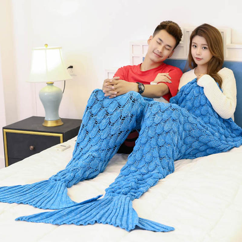 Spring Bedding Sofa Mermaid Blanket Wool Knitting Fish Style Little Tail Blankets Warm Sleeping Child Kids Princess Loves Gift Blankets