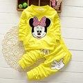 2016 nova Primavera outono Crianças mickey mouse Conjuntos de Roupas roupa dos miúdos Criança Moda Cavalheiro camisa de manga longa t + calças terno