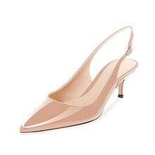 цены Elegant office Shoes Woman Med Heels Ladies Shoes 6 CM Heels Pumps Women Shoes Sexy Black Beige Wedding Shoes Stiletto EUR 34-45
