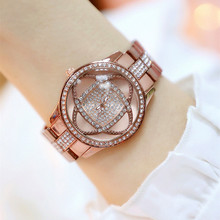 New Hot Sale Digital Rhinestone Dial with Metal Strap Brown Flower Female Watch Fashion Casual Chronograph canvas strap watch with flower face