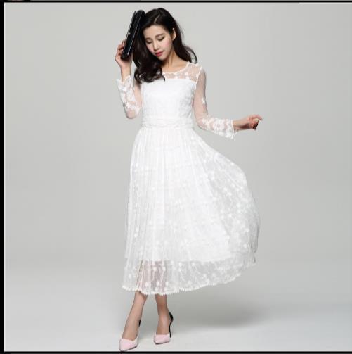 11aea99bc5d364f 2019 вышитое миди длинное белое праздничное пляжное платье женское летнее  белое кружевное платье шифоновое кружевное платье Z861 купить на AliExpress