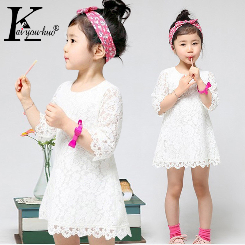 Girls Clothes 2017 Summer Lace Girls Dress Fashion Children Princess Party White Dresses For Girl Straight Costume Kids Clothing girls lace dress 2016 summer girls dresses kids clothes e mbroidery princess dress girls costume children dress