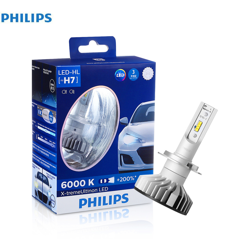 Philips Pair of H7 X tremeultinon LED Car Headlight 25W 1760LM Each bulbs headlamp With 6000K Cool White light Car Head Lights