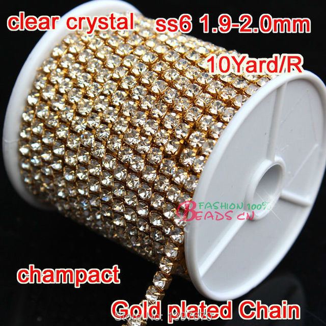 2mm Ss6 Glass crystal Rhinestones Cup Chain For Wedding Dress 1Row 10 Yards  Gold compact base ce2cd61c492b