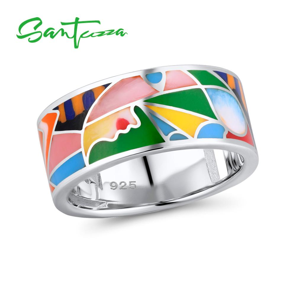 SANTUZZA Silver Ring For Women 925 Sterling Silver Chic Rings Infinity Element Colorful Enamel Party Fashion Jewelry HandmadeSANTUZZA Silver Ring For Women 925 Sterling Silver Chic Rings Infinity Element Colorful Enamel Party Fashion Jewelry Handmade