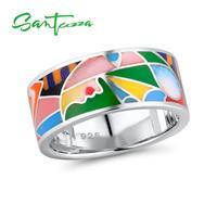 Santuzza خاتم الفضة للنساء 925 فضة شيك خواتم للنساء 2018 الفضة خاتم الملونة المينا حزب الأزياء والمجوهرات