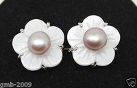 Natural 6-7mm purple Freshwater Pearl Shell Flower 925 Silver Earrings