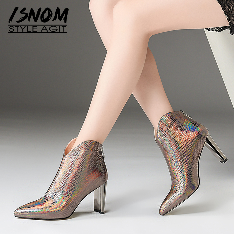 ISNOM Print Winter Ankle Women Boots Zip Pointed Toe Footwear Fashion Cow Leather Party Female High Heels Shoes Woman 2018 NewISNOM Print Winter Ankle Women Boots Zip Pointed Toe Footwear Fashion Cow Leather Party Female High Heels Shoes Woman 2018 New