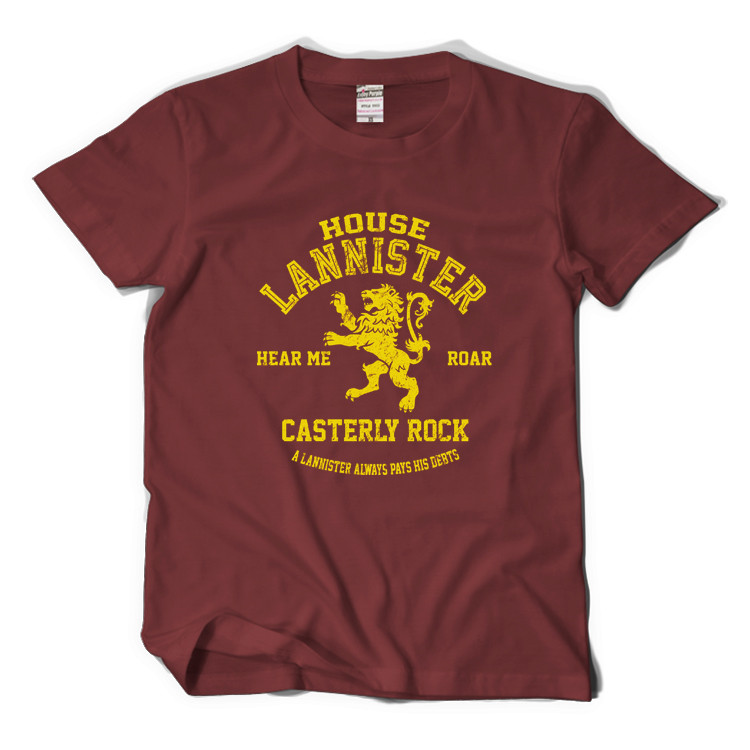 GAME OF THRONES House Lannister Gold Lions Basic Printed Tee Anime Short Sleeve T-shirt
