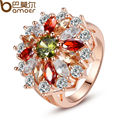 BAMOER Luxury  Rose Gold Plated Round Finger Ring for Female with AAA Multicolor Cubic Zircon Wedding Jewelry JIR017