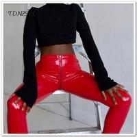 Sexy Lady PU leather Bodycon Pencil Pants Women Erotic Zipper Open Crotch Nightclub Party Slim PVC Skinny Trousers Wetlook Shiny