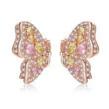 Charm Small cute Butterfly Stud Earrings for Girls rose gold Paved Multicolor Zirconia Crystal Party Ear Jewelry Accessories