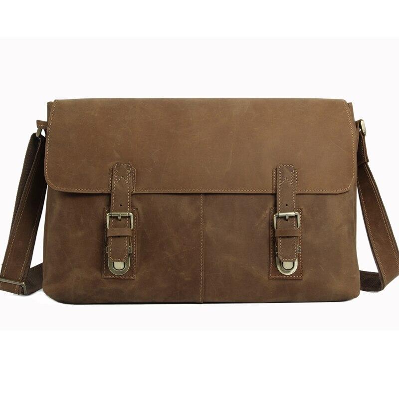 ROCKCOW Vintage Retro Look Genuine Leather Messenger Bag High Quality Crossbody Shoulder Bag Large 15'' Laptop Bag 6002LR rockcow vintage vegetable tanned leather briefcase men messenger bag laptop bag 9043