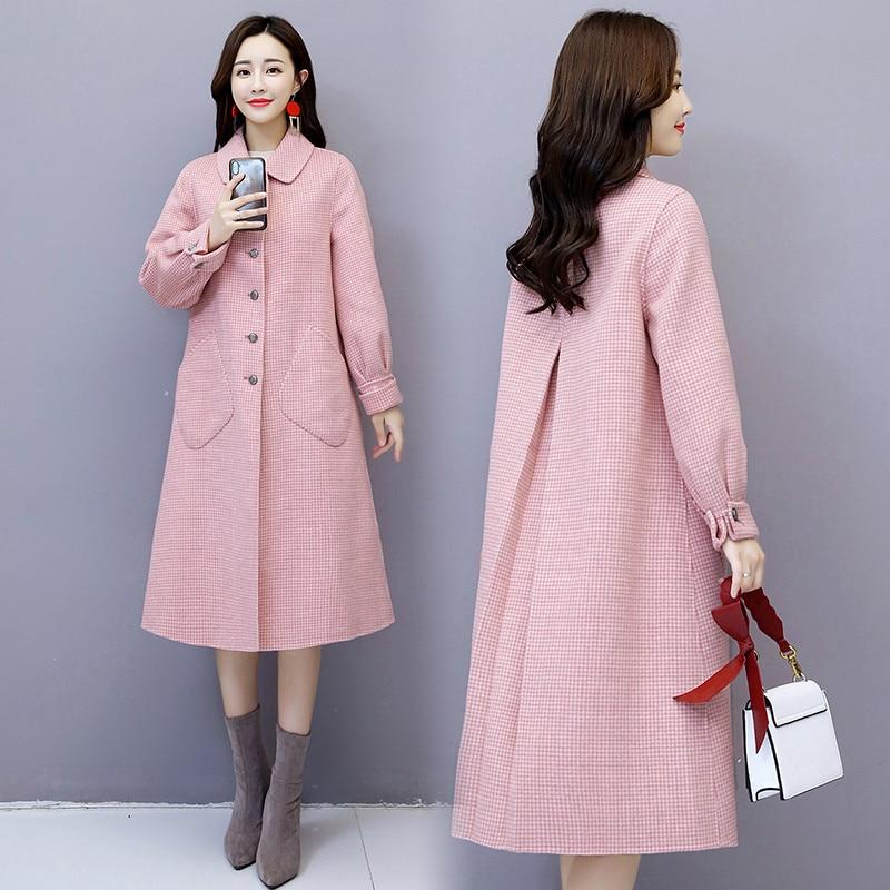 Longues red coréen Outwear De black Chaud Laine pink Femmes Manches Veste Nouvelle Automne Hiver Femme Manteau Lâche Plaid Beige À Moyen Populaire Long xfOnvf8