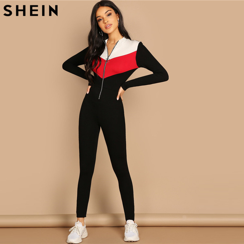 3d28f043fe SHEIN Black White and Red Patchwork Sporty Jumpsuit Women O Ring Zip Front  Colorblock Unitard Skinny Long Sleeve Jumpsuit-in Jumpsuits from Women's  Clothing ...