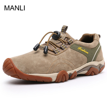 MANLI New Clorts Men Hiking Shoes Nubuck Climbing Shoes Waterproof Outdoor Trekking Shoes Genuine Leather Mountain Shoes