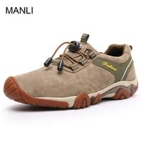 MANLI New Clorts Men Hiking Shoes Nubuck Climbing Shoes Waterproof Outdoor Trekking Shoes Genuine Leather Mountain