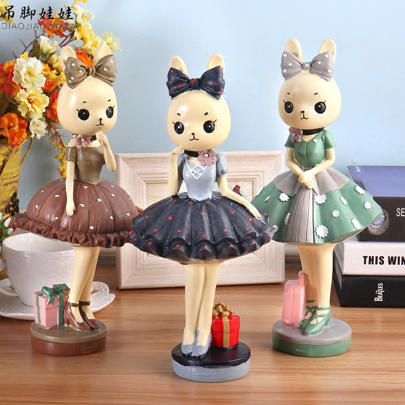 Móda Králičí figurky Ornament Kreslený Pryskyřice Bunny Postavy - Dekorace interiéru
