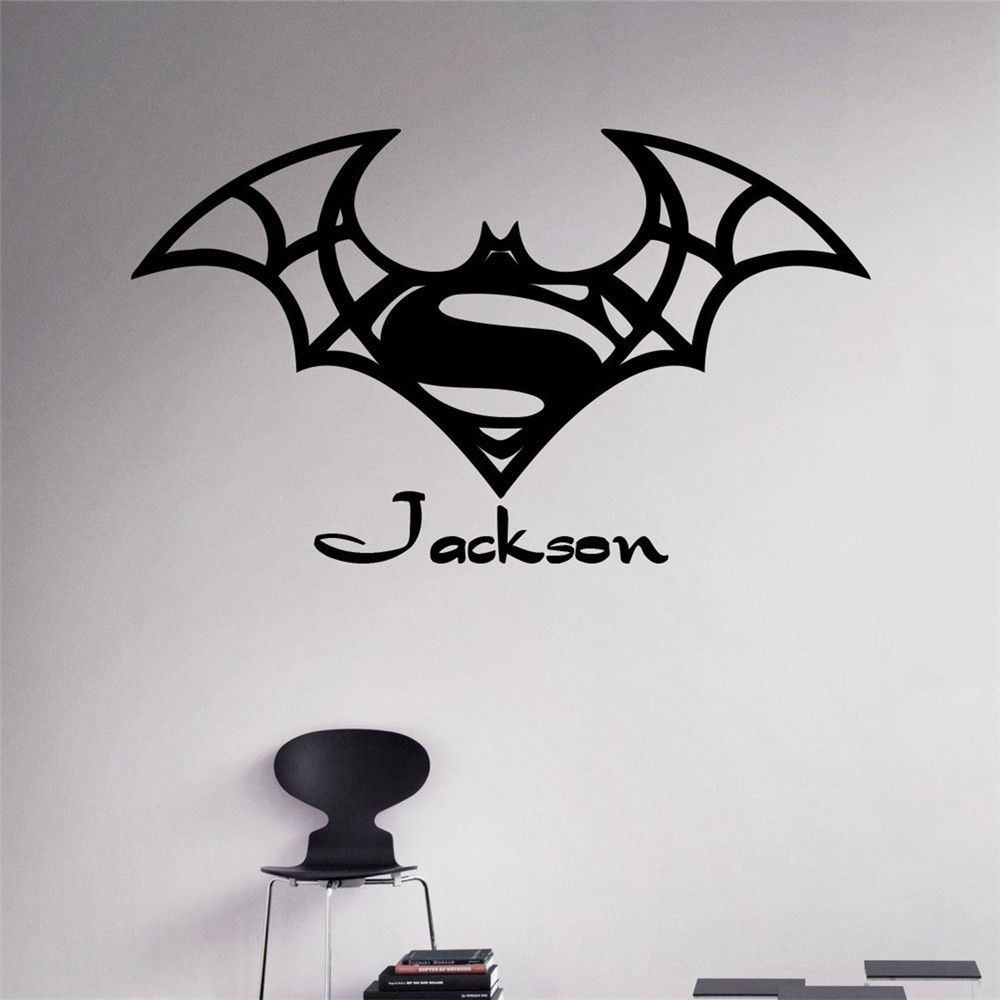 popular batman superman wall decalbuy cheap batman superman wall  - any custom names wall decal batman superman vinyl sticker personalizeddecals home decor removable decor wall