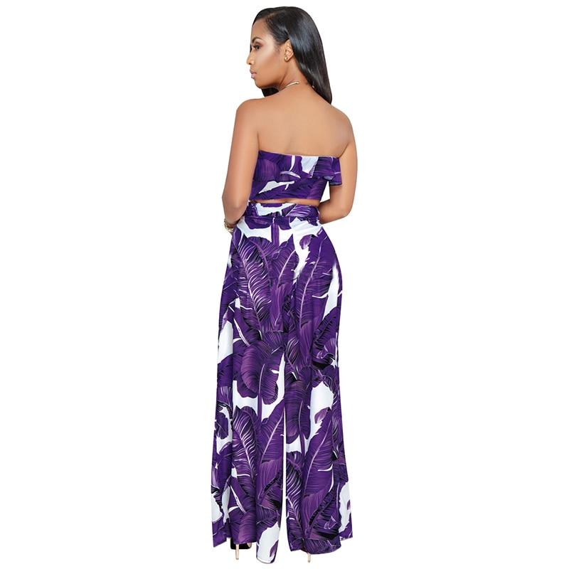 ec0a4d8458703e 2019 Women Two Piece Set Top And Pants Leaves Print Bandeau ...