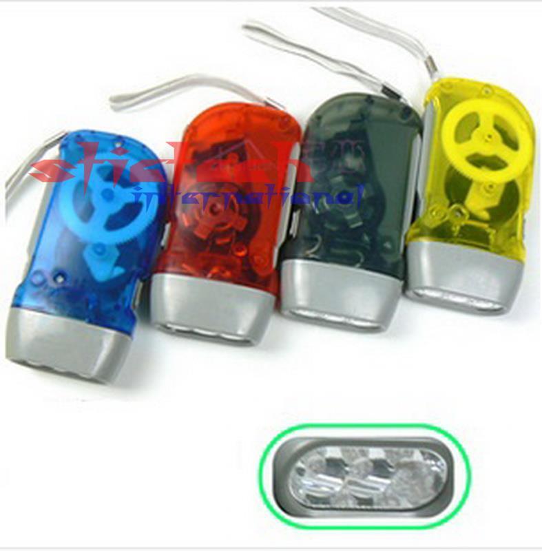 by dhl or ems 100 pcs 3 LED Dynamo Flashlight Hand pressing Crank No Battery Torch